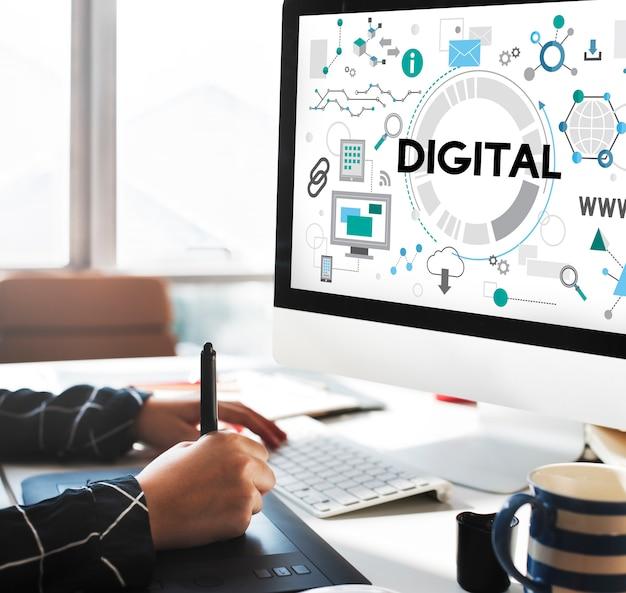 Conceito eletrônico de rede de tecnologia de conexão digital
