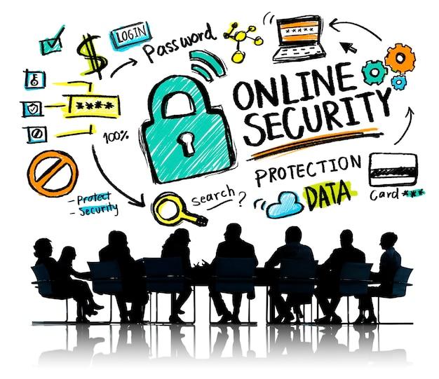 Conceito em linha da reunião de negócios da segurança do internet da proteção de segurança