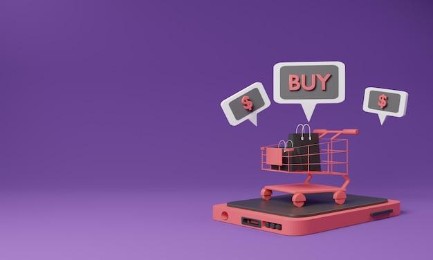 Conceito em linha de compra 3d com carrinho de compras e telefone móvel.