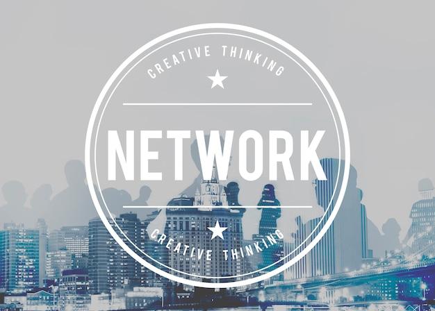 Conceito em linha dos trabalhos em rede da conexão do sistema de rede