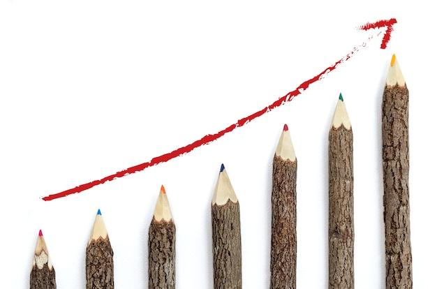 Conceito empresarial de sucesso. crescendo graficos lápis de madeira.