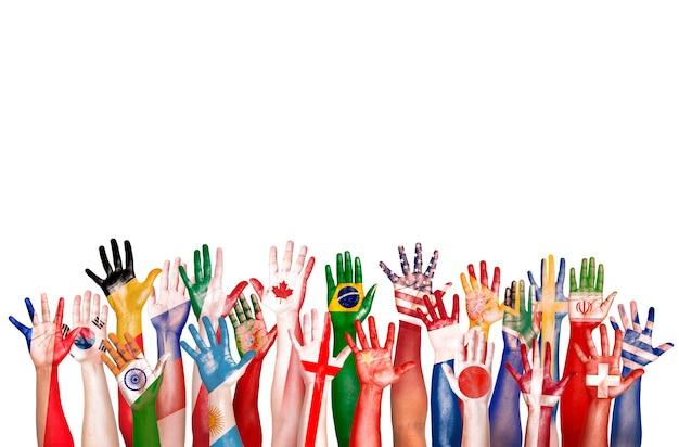 Conceito étnico da unidade da afiliação étnica da diversidade diversa do símbolo da bandeira das mãos