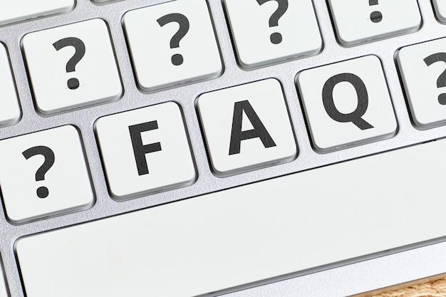 Conceito faq sobre as principais questões sobre o tema do trabalho no computador.
