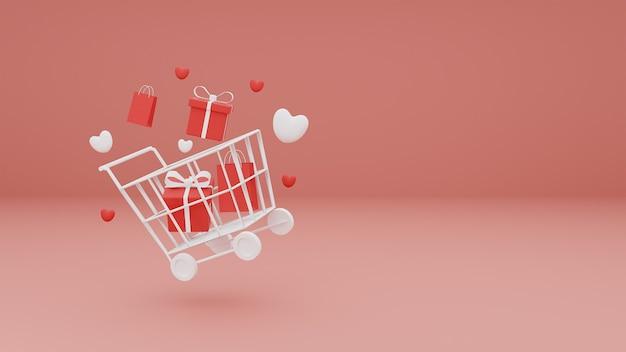 Conceito feliz dia dos namorados de coração e caixa de presente no carrinho de compras em fundo rosa pastel. renderização 3d