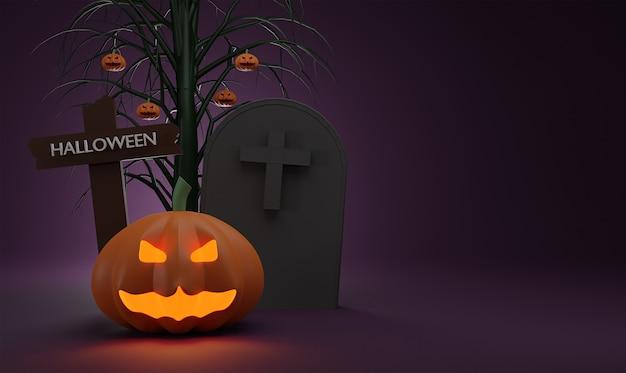 Conceito feliz halloween abóbora fantasma com crucifixo e túmulo, no fundo da árvore à noite.