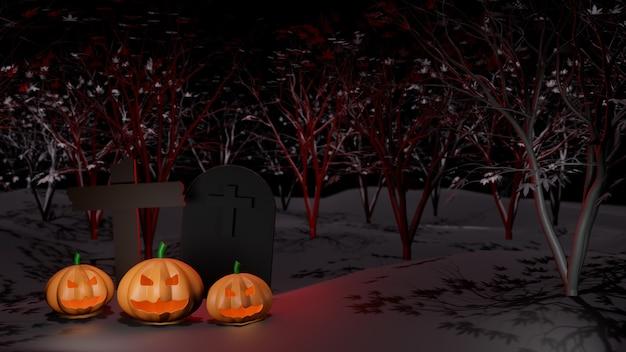 Conceito feliz halloween abóbora fantasma com crucifixo e túmulo, no fundo da floresta de árvore à noite.