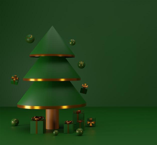 Conceito feliz natal com caixa de presente e bola brilhante e árvore de natal. renderização 3d