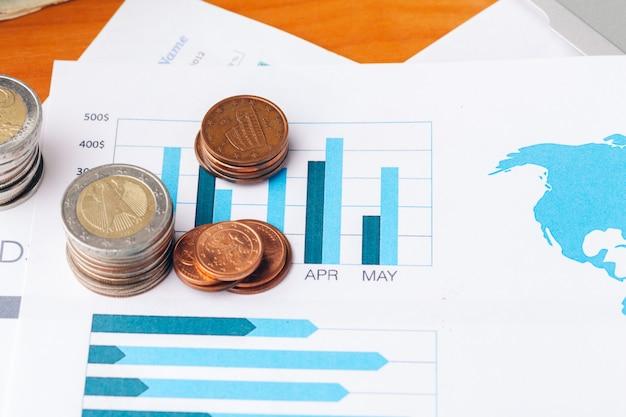 Conceito financeiro, close-up vista de dinheiro em negócios