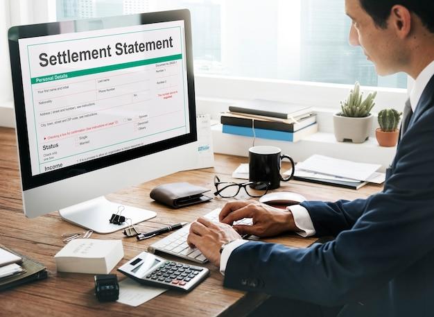 Conceito financeiro do formulário de declaração de liquidação