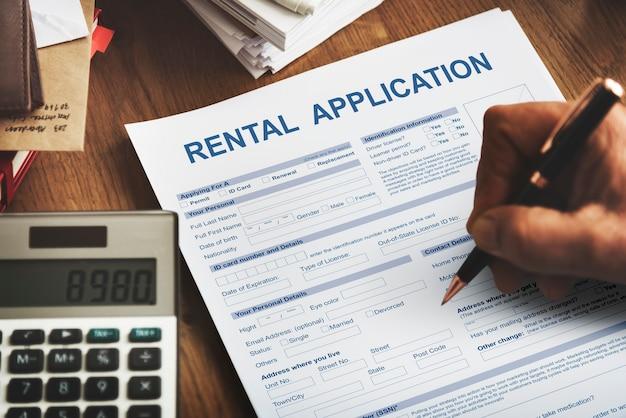 Conceito financeiro do formulário de inscrição de aluguel