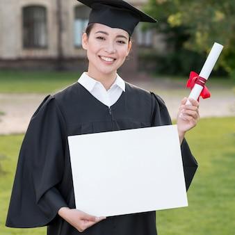 Conceito graduação, com, retrato, de, mulher feliz
