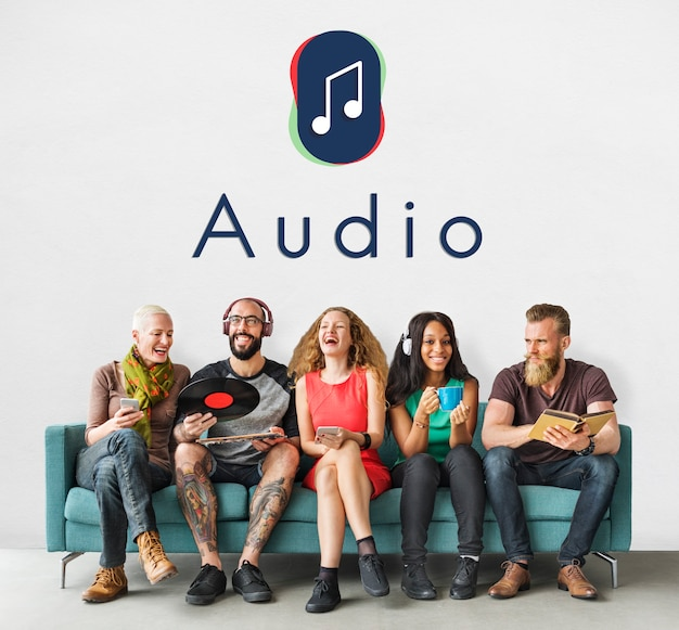 Conceito gráfico de áudio de entretenimento de notas musicais