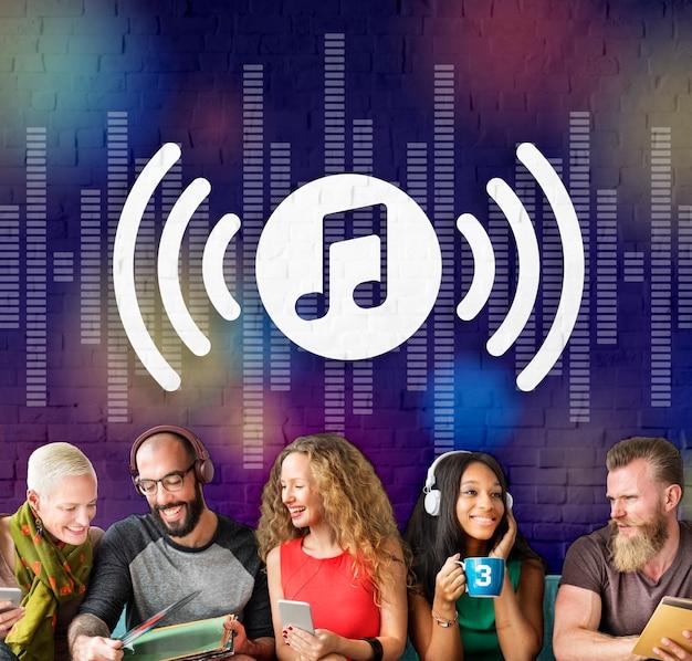 Conceito gráfico de áudio, música e entretenimento