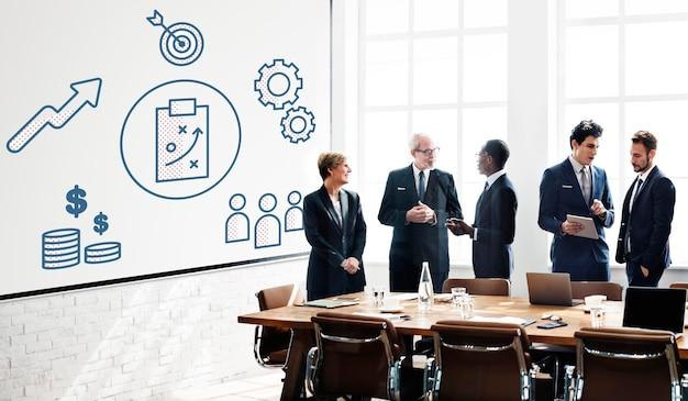 Conceito gráfico de brainstorming de estratégia empresarial