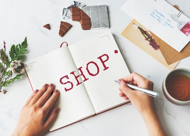 Conceito gráfico de compra em loja, venda no varejo, compra