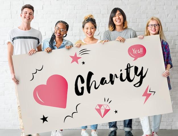 Conceito gráfico de coração de doação de caridade