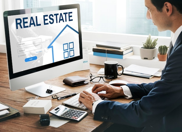 Conceito gráfico de login do site de empréstimo hipotecário