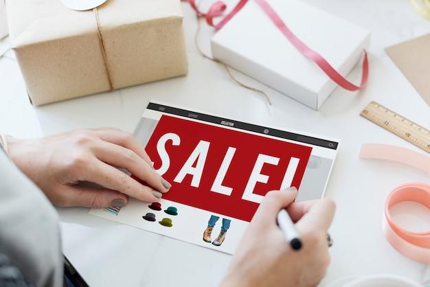 Conceito gráfico de marketing de promoção de desconto de venda