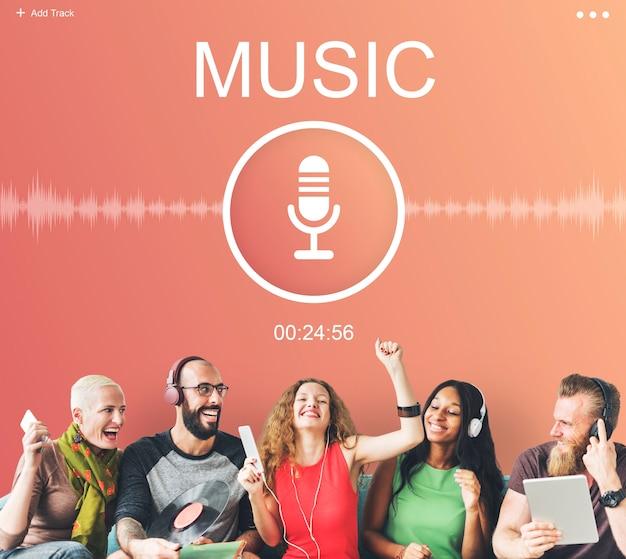 Conceito gráfico de mídia de transmissão de podcast de áudio de microfone