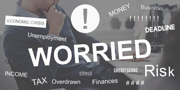 Conceito gráfico de preocupação com o problema de negócios