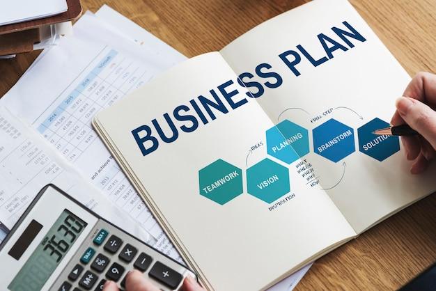 Conceito gráfico de processo de desenvolvimento de estratégia de plano de negócios
