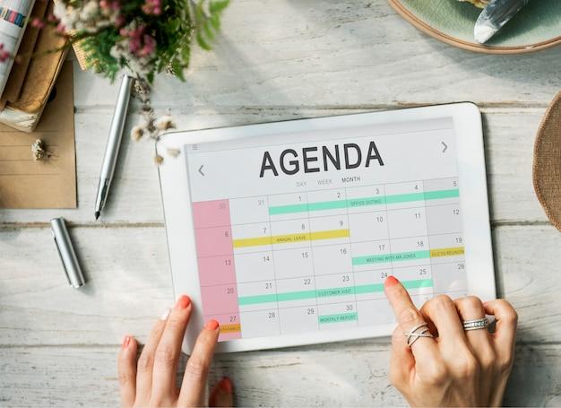 Conceito gráfico de programação de lembrete de reunião de evento de agenda de calendário