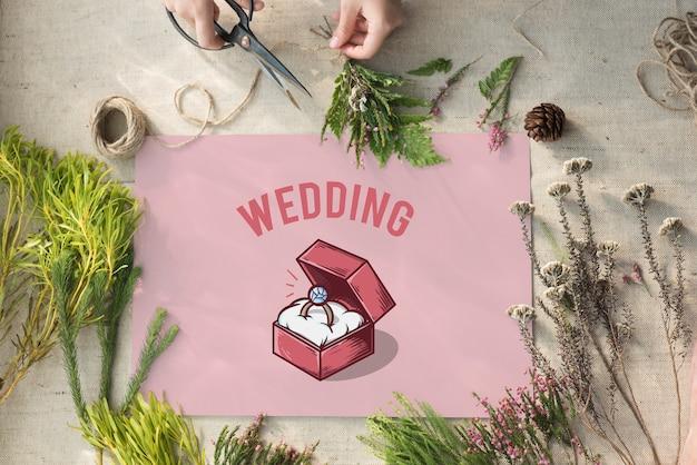Conceito gráfico de proposta de caixa de anel de casamento