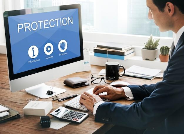Conceito gráfico de proteção de proteção de dados de segurança de privacidade