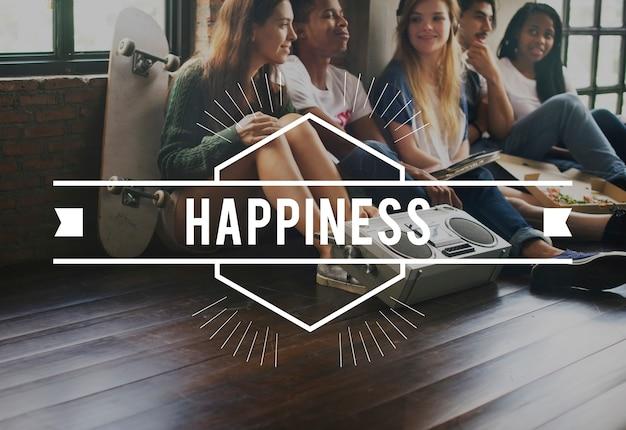 Conceito gráfico de vetor vintage de felicidade