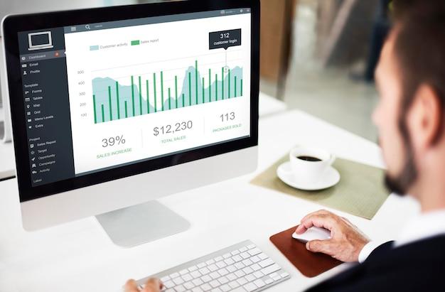 Conceito gráfico do painel de vendas de marketing do cliente