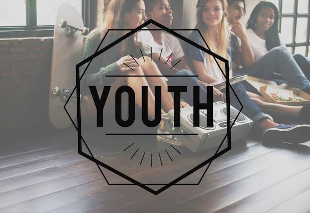 Conceito gráfico do vetor do vintage da juventude