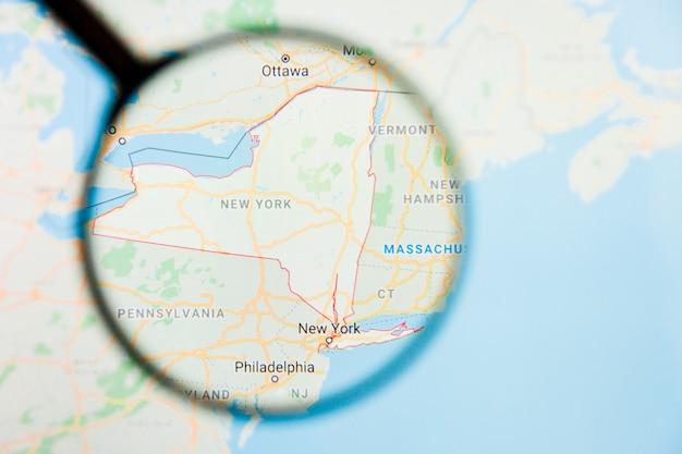 Conceito ilustrativo de visualização do estado da américa de nova york, ny na tela de exibição através de lupa