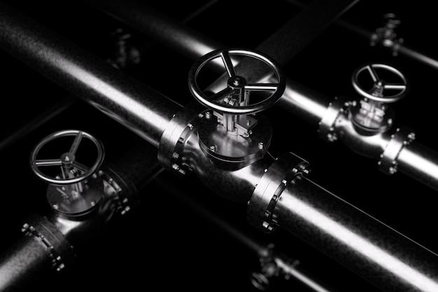Conceito industrial abstrato criativo de encanamento ou gasoduto: série de tubos de aço com válvulas pretas e efeito de foco seletivo, foco na válvula, profundidade de campo rasa, ilustração 3d industrial