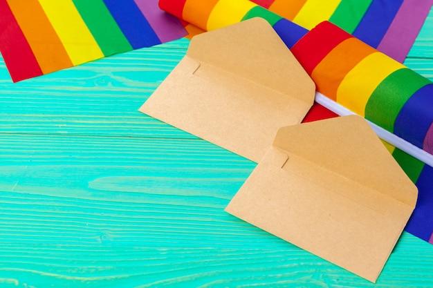 Conceito lgbtq, símbolo gay, mensagem para você