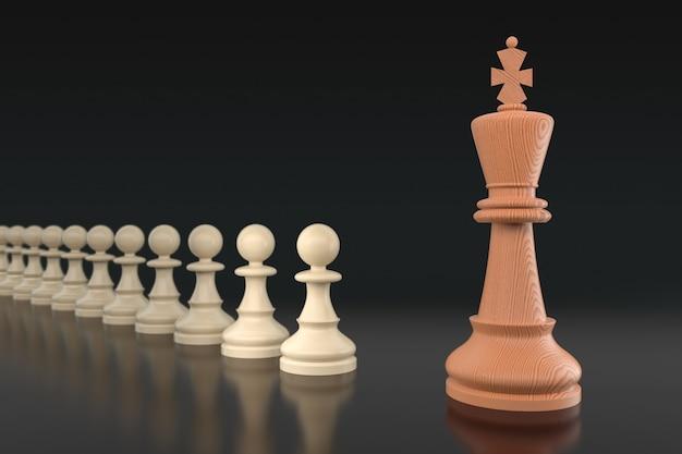 Conceito, líder e sucesso do negócio de xadrez. foco seletivo, profundidade de campo rasa. ilustração 3d