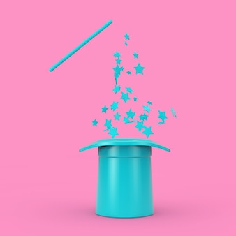 Conceito mágico. chapéu mágico azul e varinha com brilhos rosa no estilo duotone em um fundo rosa. renderização 3d