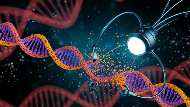 Conceito médico na área da nanotecnologia. engenharia genética e uso de nanorrobôs para substituir parte da molécula de dna. ilustração 3 d.