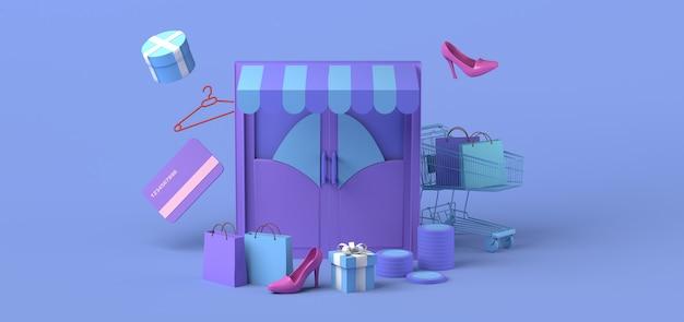 Conceito minimalista de loja online copie a ilustração 3d do espaço compras online