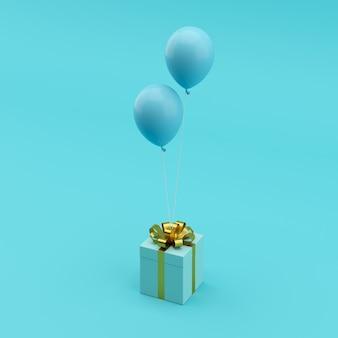 Conceito mínimo. caixa de presente azul pendente com fita de ouro com balão azul sobre fundo azul.