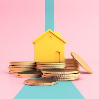 Conceito mínimo de casa acima da pilha de moedas de ouro
