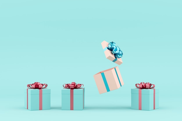 Conceito mínimo. fita azul da caixa de presente branca proeminente e fita azul da caixa de presente cor-de-rosa no fundo azul.