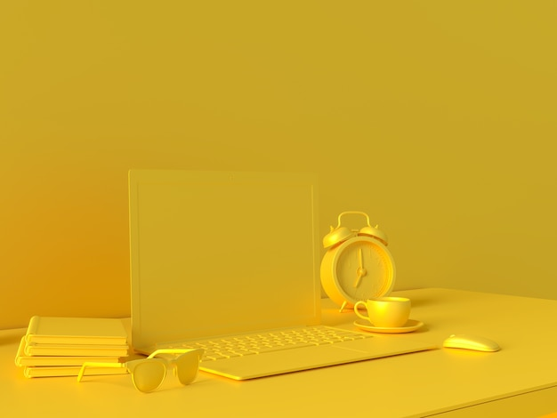 Conceito mínimo, laptop na mesa secretária amarela