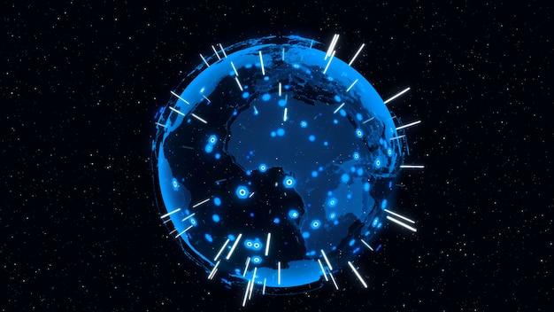 Conceito moderno de tecnologia da informação e globalização.