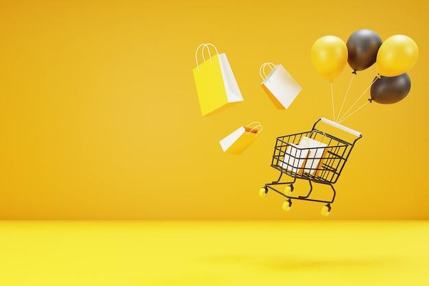 Conceito online de compras 3d com carrinho de compras, bolsa e balão. renderização 3d.