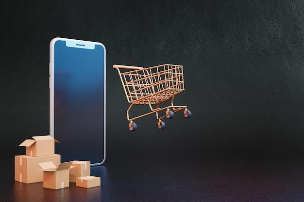 Conceito online de compras 3d com carrinho de compras e caixas de papelão. renderização 3d.