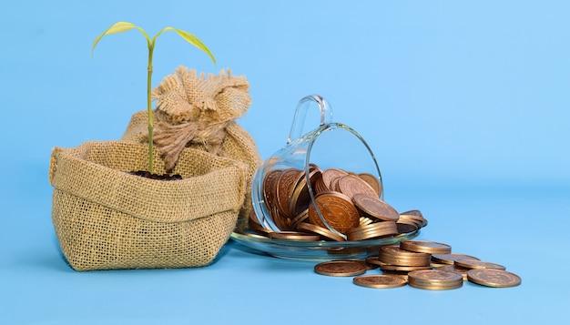 Conceito para economizar dinheiro, investir em ações de empresas financeiras