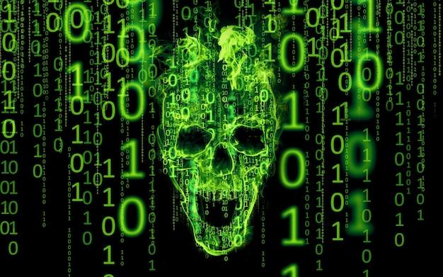 Conceito para hacker, criminosos da internet, ataque cibernético.