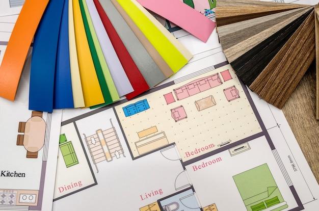 Conceito, planta da casa e paleta de cores