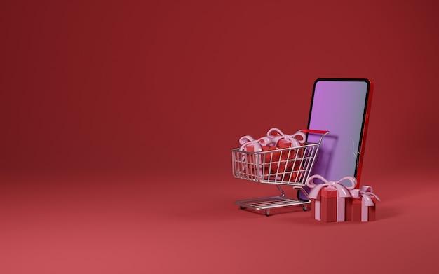 Conceito premium image do dia dos namorados - ilustração do carrinho de compras do smartphone e da caixa de presente em fundo vermelho - renderização 3d