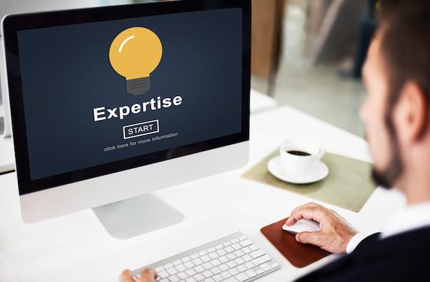 Conceito profissional de conhecimento de experiência, inteligência, inteligência